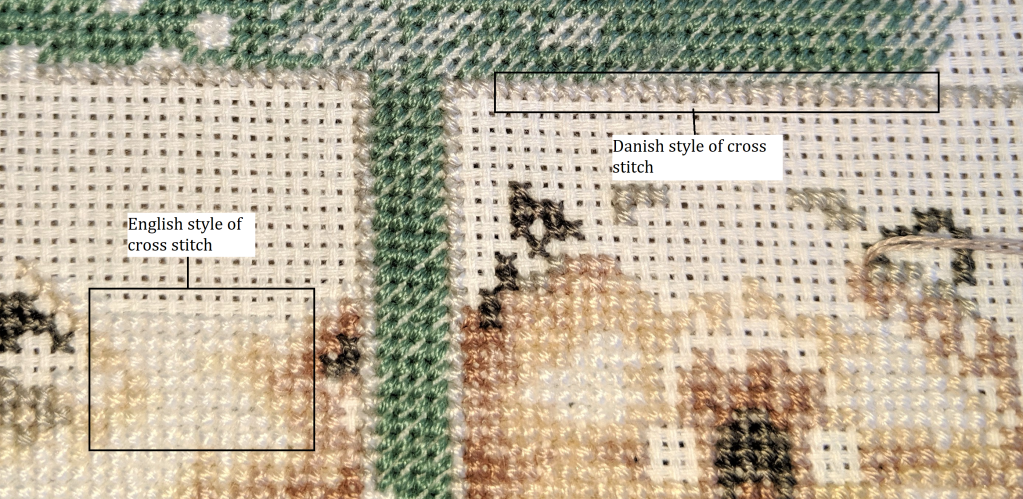 Image highlights sections of the cross stitch project where I have used the Danish and English style of cross stitch.